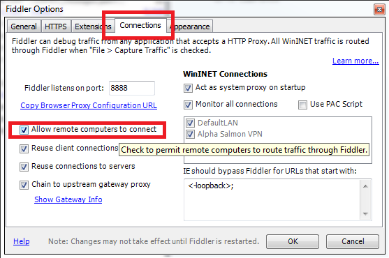 Using Fiddler to sniff mobile device application traffic
