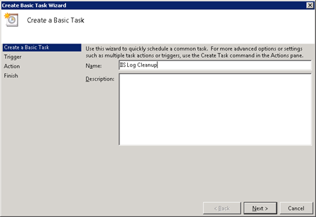 Set up scheduled log file cleaning for Windows Servers