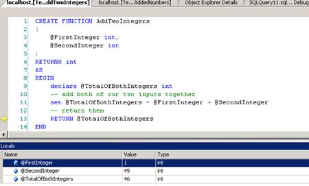 Debugging SQL Queries, Functions, & Stored Procedures with